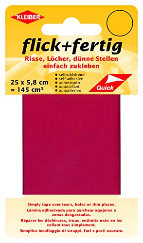 Kleiber 43077 Flick + fertig Selbstklebender Nylon Ausbesserungsflicken, 100{ab71fd0c1b83e87fd1d4c2be9a249f560a65cfac2a14c129df5a7f50dd84d53f} Polyamid, hellrot, 25 x 5,8 x 0,02 cm , (145 cm²)