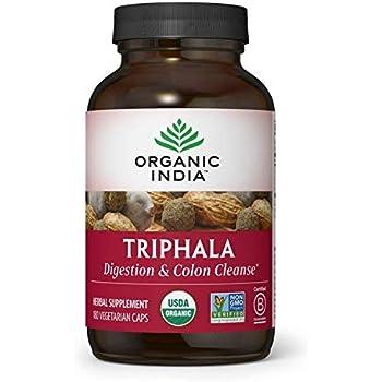 ORGANIC INDIA Triphala Supplement, Pure Triphala Herbal Formula for Natural Digestive Support, 180 Veg Capsules