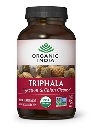 ORGANIC INDIA Triphala Supplement, Pure Triphala Herbal Formula for Natural Digestive Support, 180 Veg Capsules