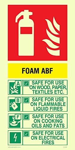 Viking Signs FZ1404-P12-PV ABF Foam Brandblusser Sign, Foto-luminescent, Sticker, 200 mm H x 100 mm W