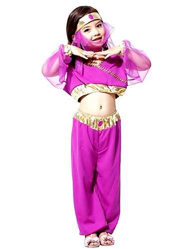 Costume Odalisca Bambina vestito carnevale costumino Araba Danzatrice del Ventre Colore Viola Taglia L 6 7 anni travestimento Halloween Cosplay ottimo come regalo per natale o compleanno