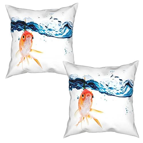 Pack de 2 Fundas de Almohada,Goldfish Nadando bajo la Superficie del Agua Clara pecera Movimiento,Funda de Cojín Cuadrado de Protectora de Almohada para Sofá Cama Decoración del Hogar (50x50cm) x2
