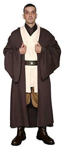 STAR WARS JEDI OBI-WAN KENOBI Caballero Disfraz - BODY Túnica Con Marrón Oscuro Jedi Bata - Réplica Star Wars Disfraz - Marrón, Marrón, Hombre: XL