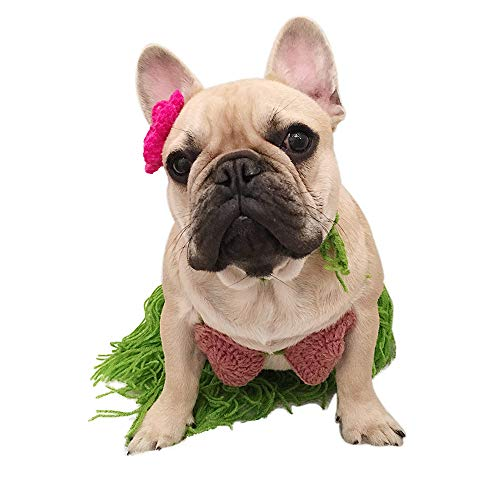Amakunft Hawaii-Bikini-Kostüm für Hunde, Polynesischer Hula-Mädchen, Cosplay für Halloween, Weihnachten, Party, BH, Rock mit Blumen-Clip, Lei Set für Welpen und Katze