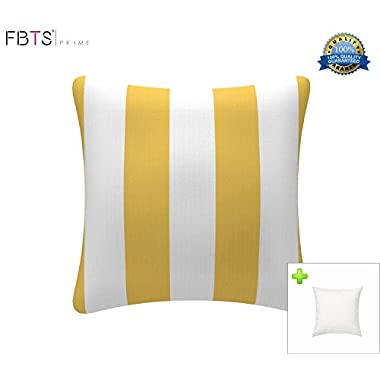 FBTS Prime Indoor/Outdoor Throw Pillow with Insert 18x18 Inches Decorative Square (Yellow & White, Stripe) Cushion Covers Pillow Sham for Couch Bed Sofa Patio Furniture