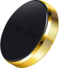SALEX Magnetic Car Mount. Flat Cell Phone Holder for [Stick On] Car Dashboard, Wall, Windshield. Universal Hands Free Kit for Smartphones and GPS. Compatible with Devices up to 7 Inches [Gold]