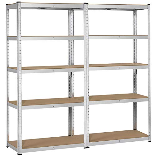 YAHEETECH 2 Pcs Heavy Duty Shelving Unit and Storage, 5-Shelf Commercial Industrial Office Storage Rack, Adjustable Garage Shelving Boltless Steel Display Stand, 71in Height