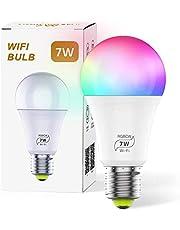 مصباح WLAN Smart LED 7 W LED بالواي فاي أمبولة LED E27 AC 100-264 V مصباح إضاءة خافت للضوء 16 مليون لون E27 متوافق مع ألكسيا، IFTTT، Google Home و Siri [فئة الطاقة A +]