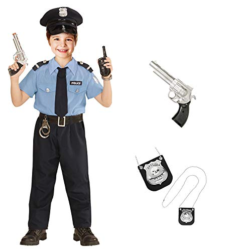Savahe Karneval Polizist Kostüm Komplett Set Kinder / Hemd, Hose, Gürtel, Krawatte & Hut, Pistole & Polizeimarke (134/140)