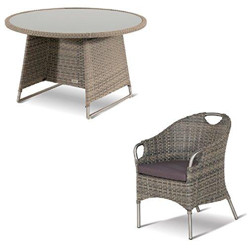 Hartman Montego - Juego de mesa y sillas (5 piezas, 120 cm de diámetro), color marrón