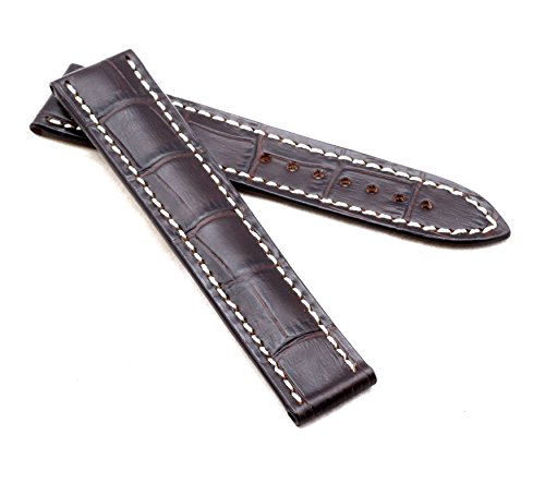 BOB Herren Faltschließband Marino Alligator kompatibel Omega 20 mm Mokka braun/Ivory