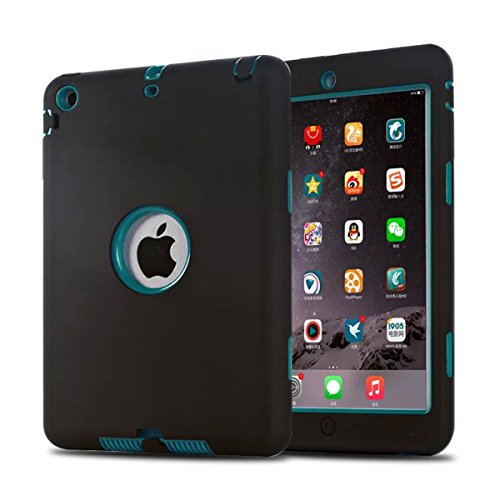 MAKEIT CASE iPad Mini Case iPad Mini 2 Case 3in1 Hybrid Shockproof Case for iPad Mini 1 2 3 Generation (Black/Dark Green)