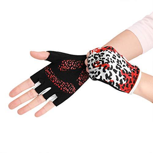 IPENNY Damen Halbfinger Handschuhe rutschfest Hohe Elastizität Radsport Handschuhe für Radfahren Schlittschuhlaufen Atmungsaktive Sporthandschuhe Sport Fitness
