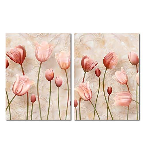 Mon Art Pink Bloosom Flower Wall Art Elegant Tulip Floals Painting Prints Still Life Pictures for Living Room Bedroom Modern Artwork Home Decoration (12x16inch,2pcs,Without Frame)