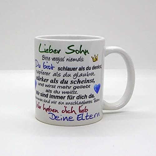 Kaffeebecher ~ Tasse - Lieber Sohn ~ Deine Eltern ~ Weihnachten Geschenk
