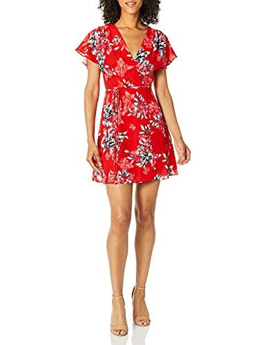 French Connection Women's Classic Crepe Light Woven Dress, Colletta Mini Bright Flame Multi, 6
