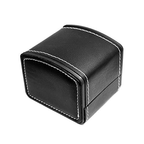 Sola caja de reloj de la PU del cuero del caso de exhibición del reloj de pulsera brazalete de la joyería reloj de la caja de regalo del organizador del almacenaje con el amortiguador Hombres Mujeres