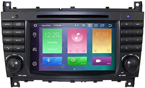hizpo Android 10 Autoradio 2 DIN 4+64G por Benz C-Class W203/CLC W203/Benz CLK W209 Radio GPS Control del Volante Bluetooth WiFi 4G RDS DSP Dab+ Entrada de Vista Trasera USB SD Reproductor de DVD