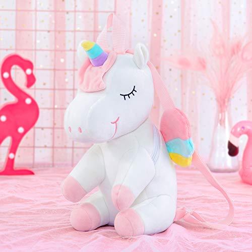 Gloveleya Unicornio Mochila para niños Mochilas de Unicornio Regalo de bebé Equipaje de bebé Uso de Viaje de Regreso a la Escuela - 3D Unicornio Blanco