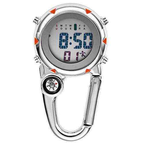 tellaLuna Clip en MosquetóN Reloj Digital Relojes Deportivos Luminosos Reloj con MosquetóN para Excursionistas MontaaIsmo al Aire Libre Naranja