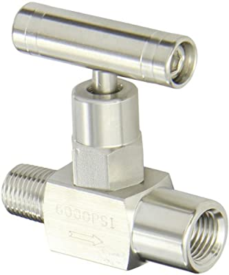"PIC Gauge NV-SS-1/4-GS-180-MXF 316 Stainless Steel Straight Needle Valve with Gas Service Seat, 1/4"" Male NPT x 1/4"" Female NPT Connection Size, 6000 psi Pressure from PIC Gauges"