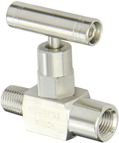 PIC Gauge NV-SS-1/4-GS-180-MXF 316 Stainless Steel Straight Needle Valve with Gas Service Seat, 1/4' Male NPT x 1/4' Female NPT Connection Size, 6000 psi Pressure
