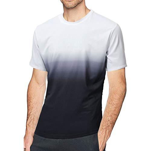 Xlala Fashion - Camiseta de Manga Corta para Hombre, diseño de Patchwork