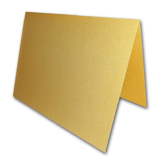 """Blank Metallic Gold Place Cards Tent Cards - 50 Pack 