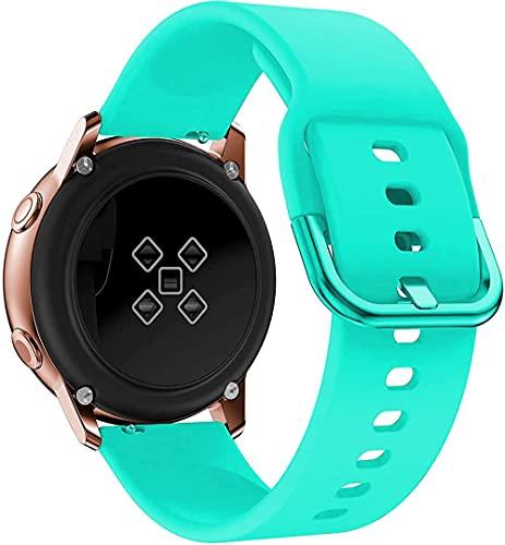 Correa de repuesto de silicona suave, compatible con Galaxy Watch 3 46 mm/42 mm/Active 2 44 mm 40 mm correas para hombres y mujeres 22 mm/20 mm, 20mm, Silicona Acero inoxidable, Correa de reloj,