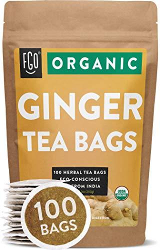 Organic Ginger Tea Bags | 100 Tea Bags | Eco-Conscious Tea Bags in...