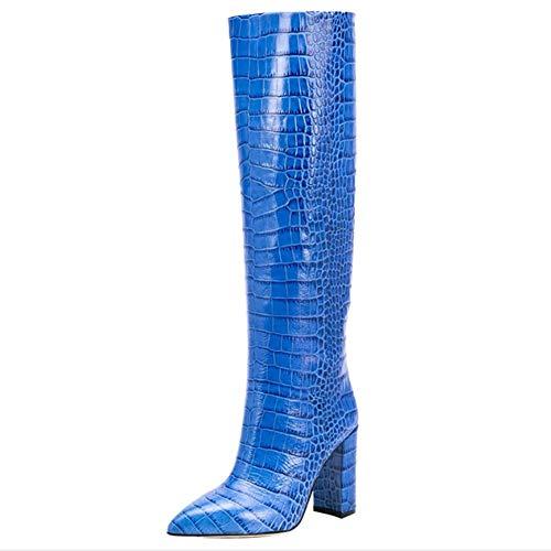 Angelay-Tian Fashion Thick-Heels High Heels, Lockere Hülsen-Rohr Catwalk Stiefel, Mehrfarben Optional Größe Stiefel (Color : K, Size : 45)