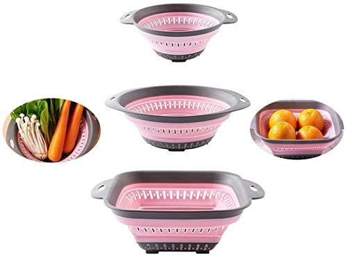 Colador plegable-colador de alimentos de silicona-escurridor de cocina plegable resistente al calor para pasta y verduras-vaporizador-apto para lavavajillas-3 piezas