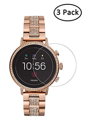 Youniker 3 Pack voor Fossil Q Venture Gen 4 Screen Protector gehard glas voor Fossil vrouwen Gen 4 Q Venture HR Smart Watch Screen Protectors folies glas 9H 0,3MM,Anti-Scratch,Bubble Free