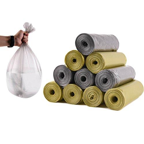 Tenshing Bolsas de basura de plástico pequeñas, resistentes y prácticas para almacenamiento, 5 paquetes, 100 bolsas