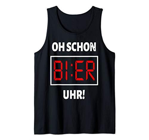 Herren Alkohol saufen Mallorca Party Outfit - Oh schon Bier Uhr Tank Top