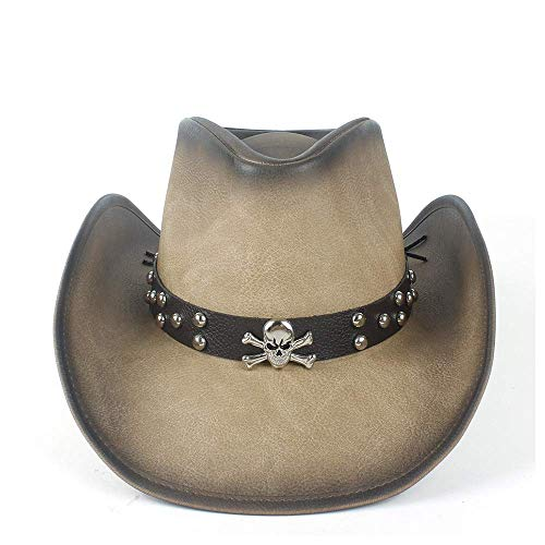 Sombrero de vaquero sin marca para hombres Sombrero de vaquero occidental de cuero para hombres con banda de cuero Ala enrollada CGFEUR (Color: Tan Talla: 58-59)