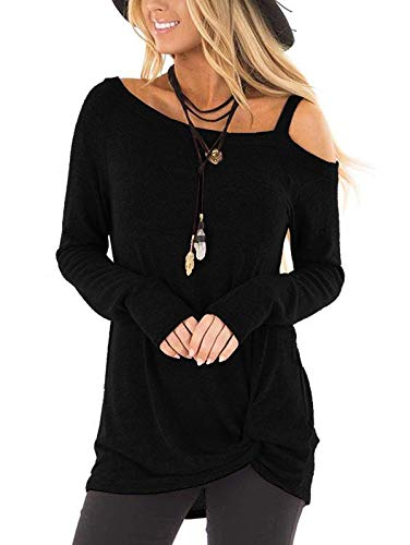 TEMOFON Women's Cold Shoulder Tops Long Sleeve Twist Knot Top Casual Tunic Blouse T-Shirts Black M
