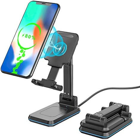 BILLKAQ Wireless Phone Charger 10W Foldable Cell Phone Wireless Charging Stand Angle Height product image