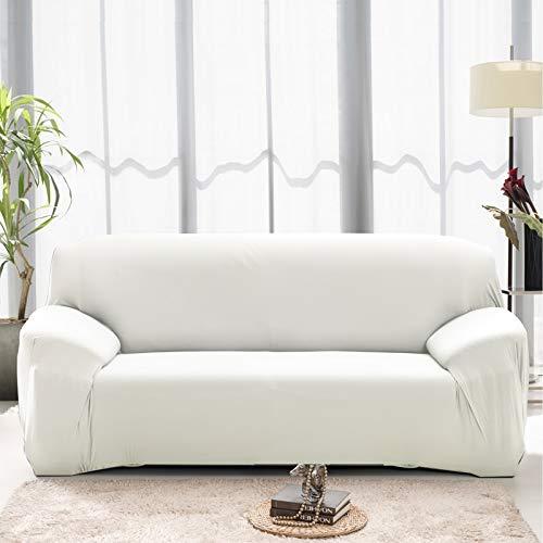 ASCV Funda de sofá de Color sólido para Sala de Estar Blanca como la Nieve Funda de sofá elástica a Prueba de Polvo Funda de sofá Toalla de sofá elástica A6 2 plazas