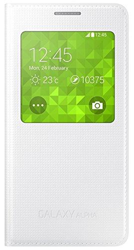 Samsung S-View Schutzhülle Flip Case Cover für Samsung Galaxy Alpha - Weiß