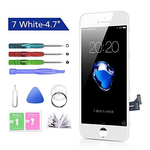 Htechy Kompatible mit iPhone 7 Display Weiß Ersatz Set LCD Touchscreen mit Reparaturanleitung und Komplettes Kostenlose Werkzeug