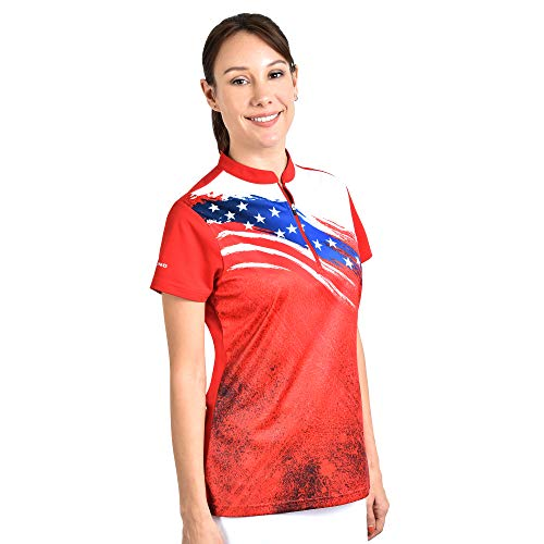 SAVALINO Women's Bowling Shirts, Professional Bowling Jerseys, Ladies Tops S-4XL Red