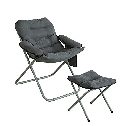 SoBuy Poltrona da giardino pieghevole, Sdraio relax con sgabello e borsa portaoggetti, Poltrona TV, grigio, OGS55-HG