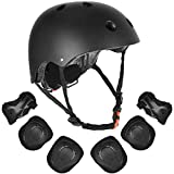 VTOSEN Kids' Protective Gear Set, Adjustable Roller Skating Skateboard BMX Scooter Cycling Protective Gear Pads (Knee Pads+Elbow Pads+Wrist Pads+Helmet) Suitable for Ages 3-8 Years Toddler Boys Girls
