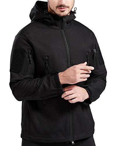 Men's Hooded Tactical Jacket - Water Resistant Soft Shell Repellent Windproof Fall Winter Coat