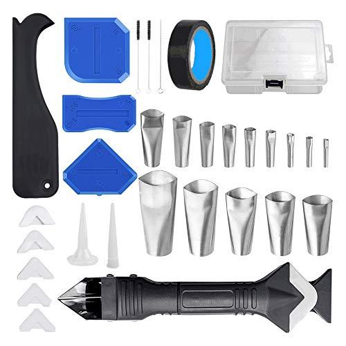 IWILCS Juego de boquillas de sellado, 31pcs Kit de herramientas de calafateo de silicona, Aplicador de boquillas de sellado de acero inoxidable para cocina, habitación o baño