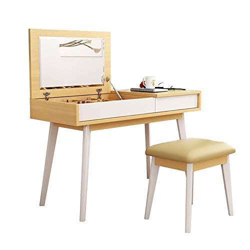 ZzheHou Schminktisch Kosmetikspiegel Clamshell Kosmetischen Make-up-Stuhl Set-Einrichter Einen Pufferspeicher Kosmetischen Make-up-Tabelle Aufweist, (Color, Size : Free)