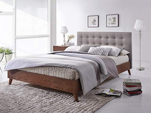The Lotte Grey Wood by Cadar | Upholstered Wooden Bed with Grey Fabric | Nordic Design | Platform Bed | Padded Headboard | Malaysian Wood Bed Frame | Wooden Mattress Supports | 140 x 200 cm