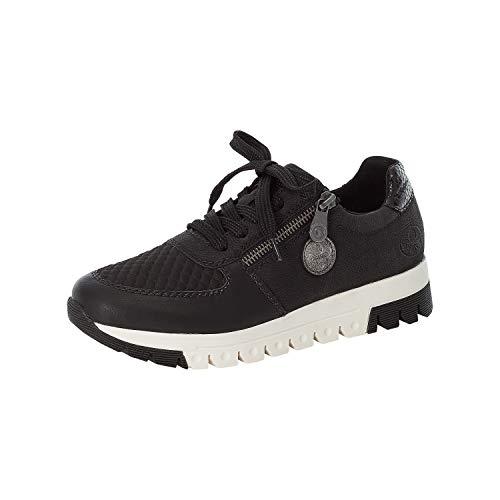 Rieker Damen Low-Top Sneaker L2934, Frauen Sneaker,Freizeitschuhe,Turnschuhe,Laufschuhe,schnürschuhe,Business,Woman,schwarz (00),40 EU / 6.5 UK