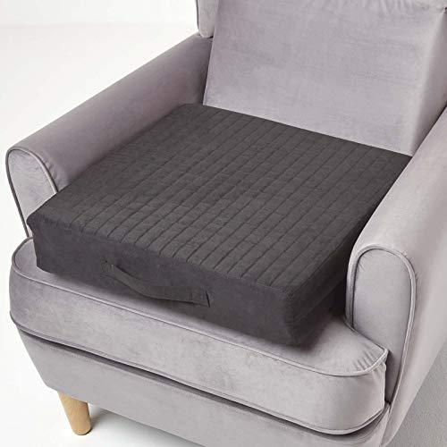 HOMESCAPES Black Quilted Armchair Booster Cushion with Removable Cover 50 cm Square 10cm Deep Firm Orthopaedic Foam Cushion Seat Pad with Soft Faux Suede Washable Cover